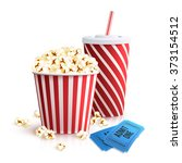 cola popcorn and tickets | Shutterstock . vector #373154512