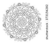mandala of flowers and... | Shutterstock .eps vector #373156282