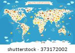world map with animals. world... | Shutterstock .eps vector #373172002