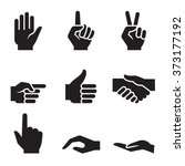 human hand symbol icon set | Shutterstock .eps vector #373177192