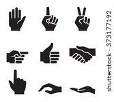 human hand symbol icon set | Shutterstock .eps vector #373177192