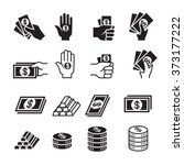 hand and money icon set | Shutterstock .eps vector #373177222