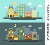urban landscape flat style... | Shutterstock . vector #373180492