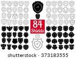 vector black shields set  84... | Shutterstock .eps vector #373183555