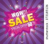 wow super sale banner.vector... | Shutterstock .eps vector #373185136