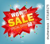 wow super sale banner.vector... | Shutterstock .eps vector #373185175