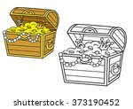 treasure chest full of gold and ... | Shutterstock .eps vector #373190452