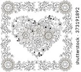 coloring book decorative heart... | Shutterstock .eps vector #373191892