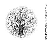 holistic tree sketch. black and ... | Shutterstock . vector #373197712