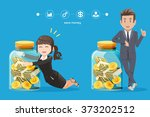 business man and woman trying... | Shutterstock .eps vector #373202512
