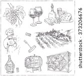 set of wine drawings. sketches.