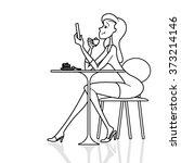 girl cafe phone | Shutterstock .eps vector #373214146