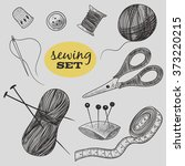 sewing set. thimble  needle ...   Shutterstock .eps vector #373220215