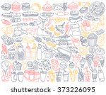 fast food doodle set. various... | Shutterstock .eps vector #373226095