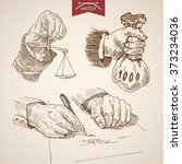 hands with scales bag of money... | Shutterstock .eps vector #373234036