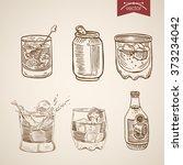 alcohol spirit mix cocktail... | Shutterstock .eps vector #373234042