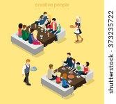 restaurant big group table... | Shutterstock .eps vector #373235722