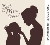 mother and daughter silhouettes.... | Shutterstock .eps vector #373237252