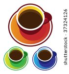 colorful vectors  coffee cups.... | Shutterstock .eps vector #37324126