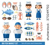 set of icons and characters in  ... | Shutterstock .eps vector #373249702