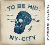 poster of vintage skull hipster ... | Shutterstock . vector #373252762