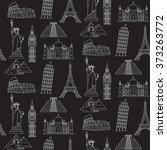 world landmarks vector seamless ... | Shutterstock .eps vector #373263772