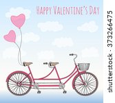 tandem bicycle with hearts... | Shutterstock .eps vector #373266475