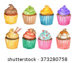 watercolor cupcakes set | Shutterstock . vector #373280758