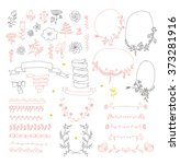 big set of floral graphic... | Shutterstock .eps vector #373281916