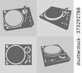 dj turntables vector | Shutterstock .eps vector #373292788