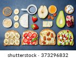 set healthy sandwiches with... | Shutterstock . vector #373296832