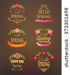 organic labels set of floral... | Shutterstock .eps vector #373301698