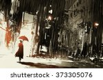 lonely woman with umbrella in... | Shutterstock . vector #373305076