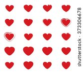 vector red hearts set. hand... | Shutterstock .eps vector #373306678