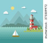 lighthouse on beach  island ... | Shutterstock .eps vector #373309972