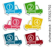 van delivery set with numbers.... | Shutterstock .eps vector #373321702