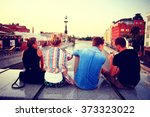 youth group vacation travel city | Shutterstock . vector #373323022