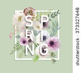 floral spring graphic design  ... | Shutterstock .eps vector #373327648