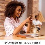 young beautiful afro american...   Shutterstock . vector #373344856