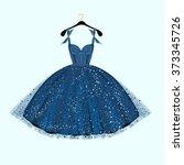 blue party dress. vector... | Shutterstock .eps vector #373345726