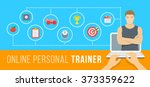 online personal fitness trainer ... | Shutterstock .eps vector #373359622