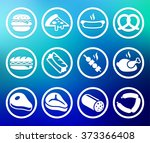 food meat and junk food on blue ... | Shutterstock .eps vector #373366408