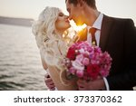 charming bride and elegant... | Shutterstock . vector #373370362