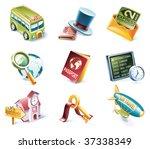 vector cartoon style icon set.... | Shutterstock .eps vector #37338349
