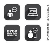 byod icons. human with notebook ... | Shutterstock . vector #373383676