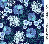 Blue Country Floral   Seamless...