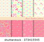 Heart Retro different vector seamless patterns . Endless texture can be used for wallpaper, pattern fills, web page background,surface textures