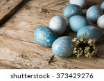 Blue Easter Eggs And Bouquet O...