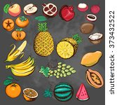 fruits collection. drawn...   Shutterstock .eps vector #373432522