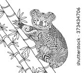 koala on tree coloring page.... | Shutterstock .eps vector #373434706